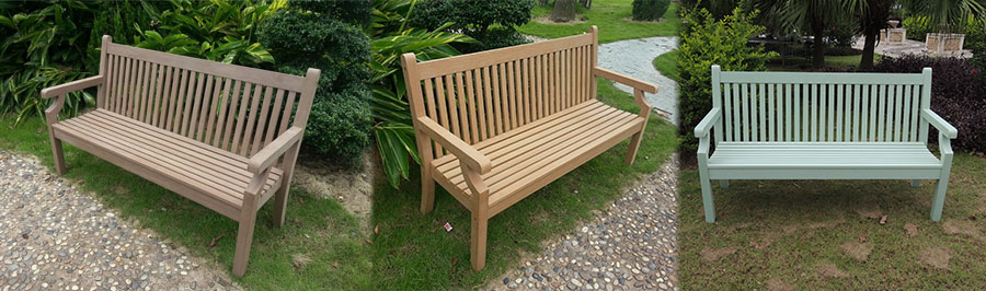 The range of 3 seater Winawood benches in Sandwick style