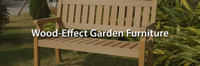 This is the style of garden furniture that looks like wood but is actually a man made composite.