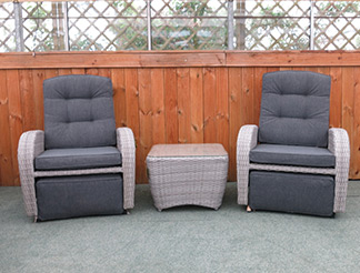 The silver grey rocking reclining set