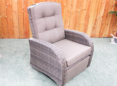 Individual chair of the rocking reclining rattan