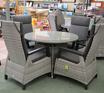 light grey reclining rattan dining set